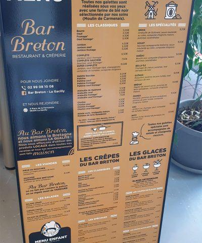 Panneau extérieur menu restaurant